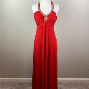 Long red Spence beaded halter dress